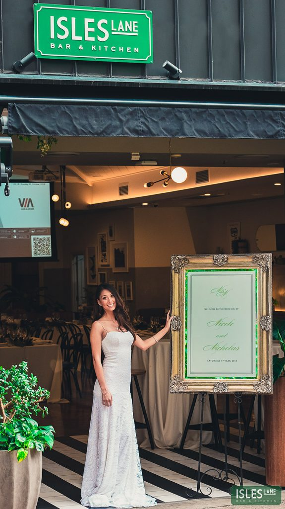 Bride with sign